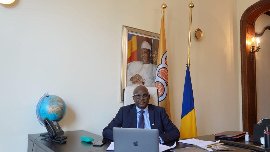 Amb. Mahamat Mamadou ADDY participant au comité des Ambassadeurs de l'OEACP sur zoom.